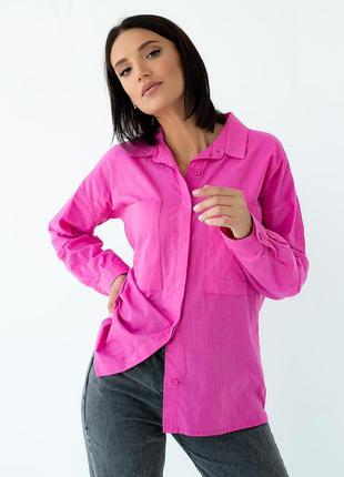 Якро розовая  рубашка свободного кроя