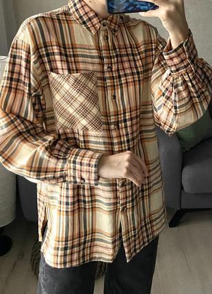 Рубашка в клетку с объёмными рукавами topshop