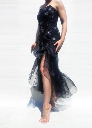 Платье euro fashion англия чёрное длинное блестящее вечернее нарядное фатиновое