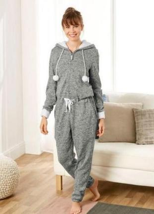 Кигуруми, слип пижама, футужама ,спальный комбинезон серый меланж  48/56