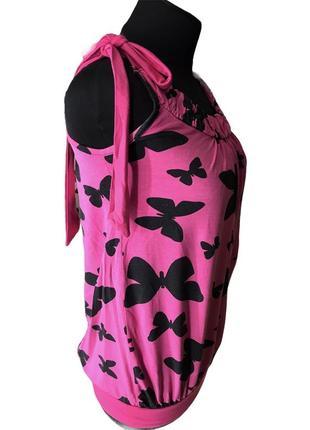 Майка в бабочках на лентах завязках на плечах свободная вискоза