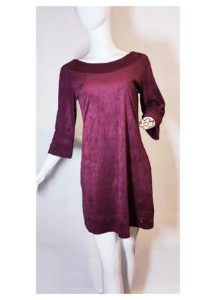 Замшевое платье миди марсала свободного крля с карманами