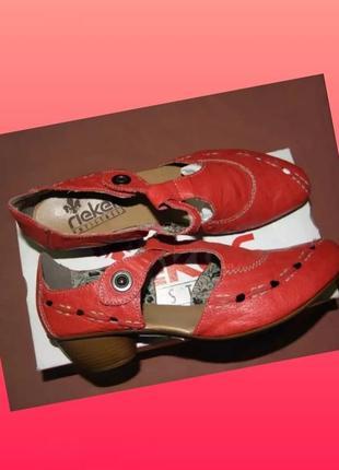 Туфли rieker из натуральной кожи на маленьком каблуке