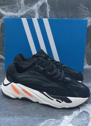 Женские кроссовки adidas yeezy 700 v2 черные, осенние