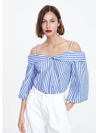 Стильная хлопковая блуза в полоску  от зара