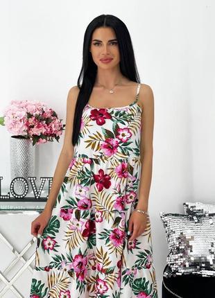 Женское платье на брительках с цветочным принтом