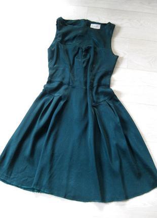 Красивое элегантное платье almari англия синее изумрудное расклешённое