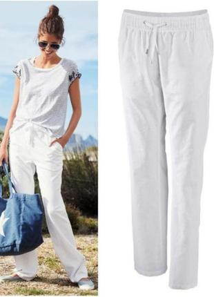 Женские льняные брюки штаны штаны прямые белые из льна esmara германия