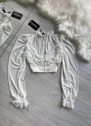 Белая блуза топ в сеточку