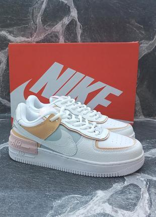 Женские кроссовки nike air force белые, кожаные, осенние