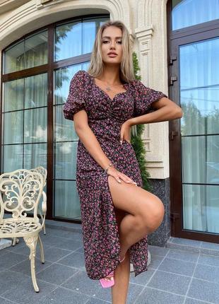 Красивое платье в цветочек супер качество