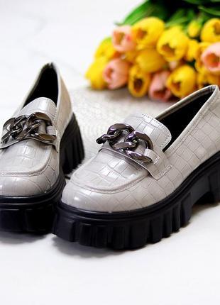 Люксовые фактурные серые женские туфли с декором на утолщенной подошве  к 11185