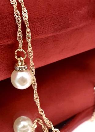 Женская цепочка для очков золотистая перекрут с подвесками жемчужными
