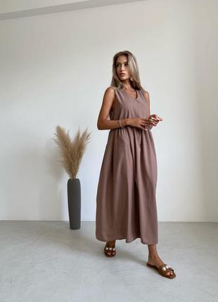 Льняное платье миди цвет мокко