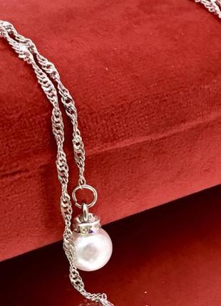 Женская цепочка для очков серебристая с подвесками жемчужинками2 фото