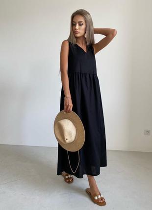 Лёгкое летнее льняное платье в пол