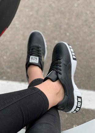 Женские черные кросовки puma cali black/white 36-419 фото