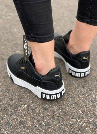 Женские черные кросовки puma cali black/white 36-412 фото
