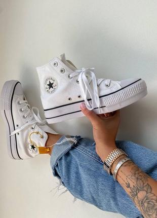 Женские стильные осенние кроссовки converse chuk taylor high sole white