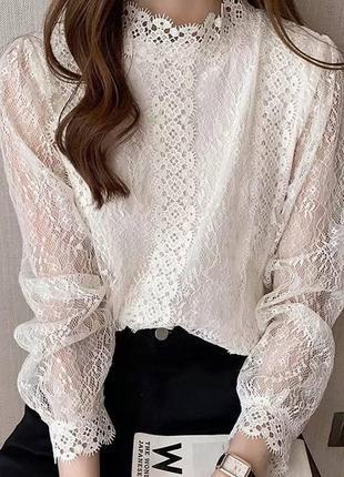 Красивая белая блузка женская ажурная кружевная кофточка в школу на работу