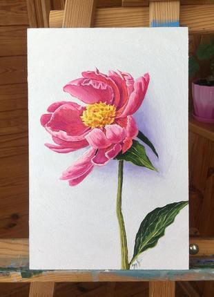 Интерьерная картина маслом цветок пион ручная работа