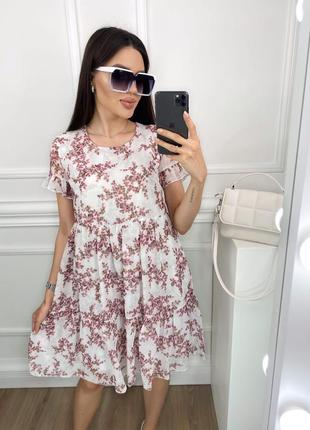 Платье летнее женское легкое свободное мини короткое цветочное шифоновое