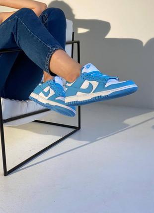 Женские синие кросовки nike dunk low blue 38-39 размер