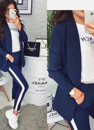 Цвета🌈костюм женский брюки с лампасами пиджак стильный модный красивый