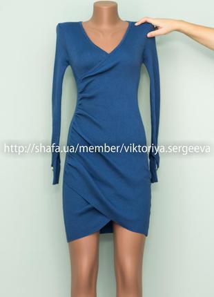 Шикарное теплое плотное платье в рубчик на запах красивого синего цвета
