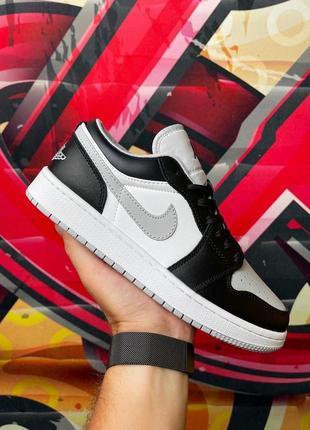 Мужские кожаные кроссовки nike air jordan low grey/black чёрно-серые найк джордан