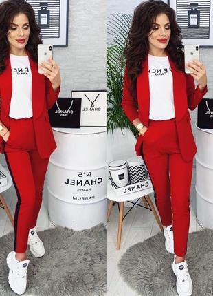Цвета🌺женский стильный модный красивый костюм брюки с лампасами пиджак