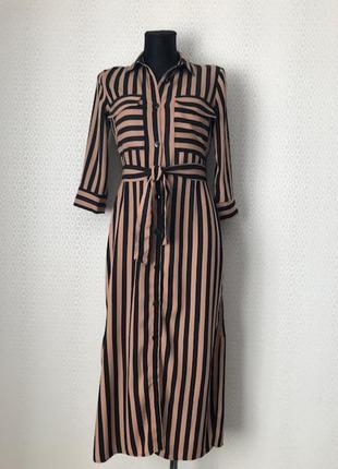 Стильное трендовое платье халат в бежевую / черную полоску от bershka размер xs-s