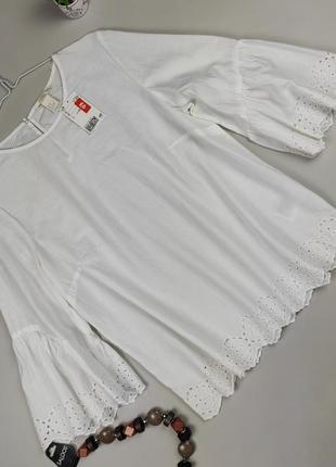 Блуза белая шикарная новая хлопок батистовая h&m uk 10/38/s