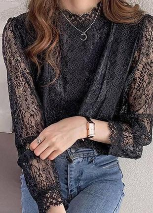Черная красивая кофточка блузка женская рубашка на работу офис школа