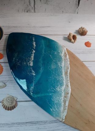 Дошка кухона таця подарунок на свято, сервiровка столу, лофт, тарiлка эпоксидка дерево