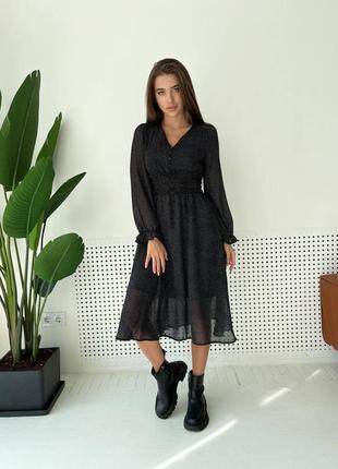 Шифоновое платье миди женское в горошек