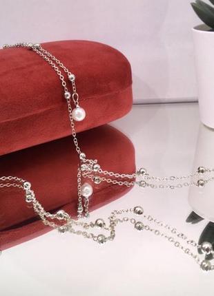 Серебристая цепочка для очков держатель с подвесками