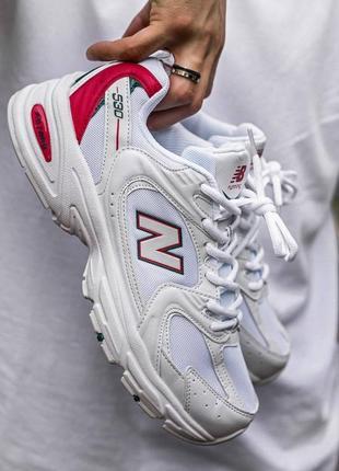 Шикарные женские кроссовки new balance 530 white red наложенный платёж