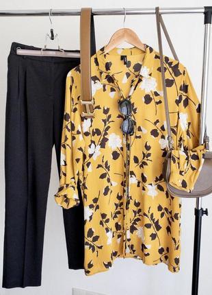 Удлинённая блуза из натуральной ткани