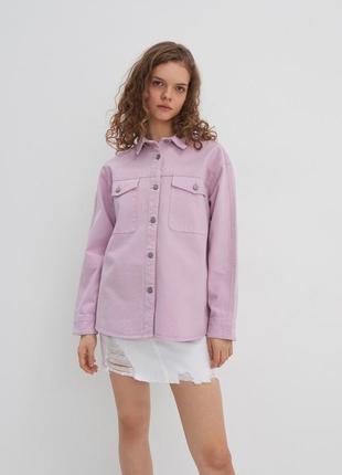 Трендовая лавандовая джинсовая рубашка куртка house