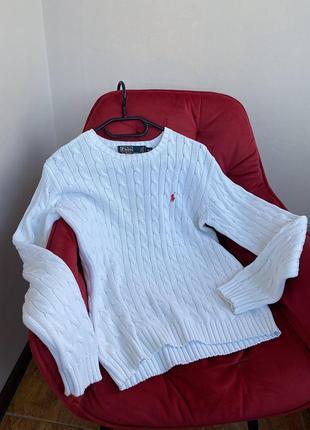 Белый свитер polo ralph lauren кофта гольф пуловер толстовка свитшот