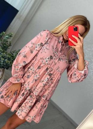Платье розовое цветочное софт