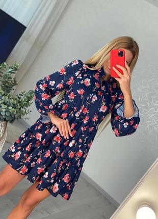 Платье синее цветочное софт