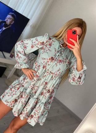 Платье зелёное цветочное софт