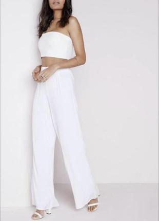 Белые широкие свободные штаны палаццо вискоза, брюки