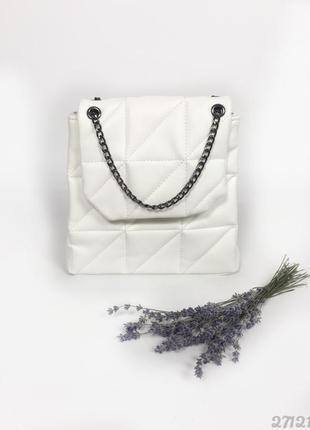 Білий міні рюкзачок сумка стьобаний, женский рюкзак сумка белый стеганый