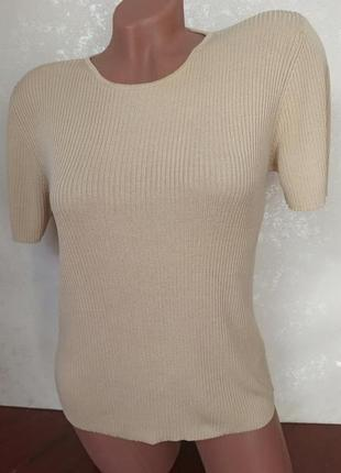 Шелковый трикотажный джемпер с коротким рукавом, футболка 100% шелк