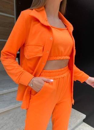 Женский трикотажный костюм тройка брюки рубашка и топ
