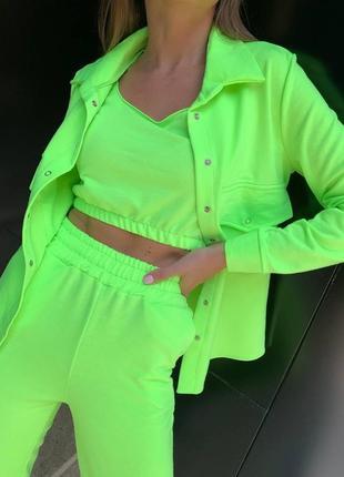 Женский трикотажный костюм тройка брюки рубашка и топ1 фото