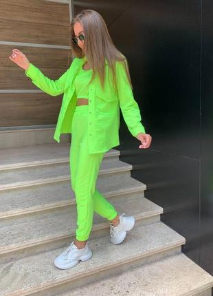 Женский трикотажный костюм тройка брюки рубашка и топ2 фото